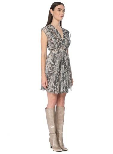 NetWork Kadın 1075999 Slim Fit Desenli Mini Elbise Yeşil